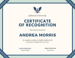 cream and teal border certificate of recognition templates by canva