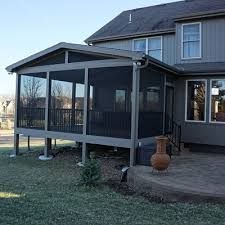 gable roof screened porch with westbury c 10 aluminum railing in