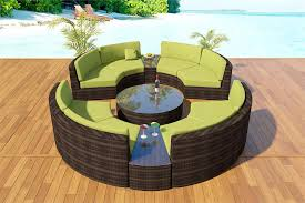 round curved modular outdoor wicker sectional gathering patio