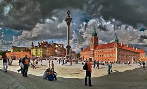 old town warsaw poland sigmunts column in the center of the image