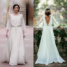 wedding dress discount boho wedding dress with sleeves blomwedding