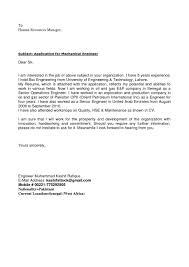 Cover Letter For Engineering Job Cover Letter For Internship For Mechanical Engineering