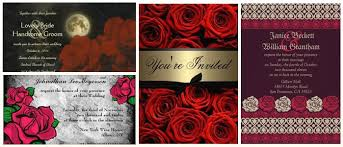Red And Black Wedding Invitations Red Roses Gothic Wedding Invitations Partyinvitecards The