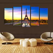 Eiffel Tower Garden Decor New Arrival Paintings Cuadros Unframed 5 Panels Eiffel Tower