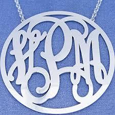 2 Inch Monogram Necklace Silver 3 Initials Circle Monogram Necklace 2 1 2 Inch Diameter