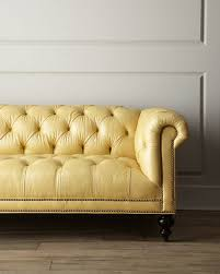 Old Hickory Tannery Morgan Sunshine Chesterfield Leather Sofa - Hickory leather sofa