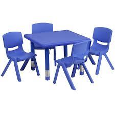 Classroom Stacking Chairs Amazon Com Flash Furniture 24 U0027 U0027 Square Blue Plastic Height