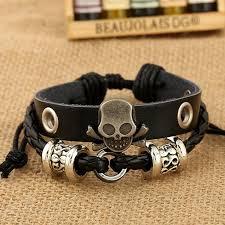 fashion charm leather bracelet images Fashion charm bracelets handmade skull charm for men multilayer jpg