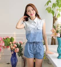 jean rompers and jumpsuits 2016 fashion denim jumpsuit summer plus size casual