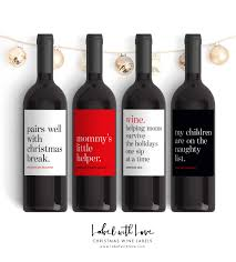 holiday wine label collection christmas wine label 4 pack