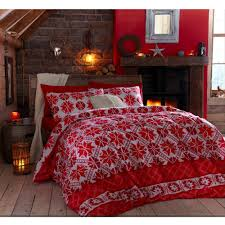 Waterproof Duvet Cover Argos Flannelette Red Stockholm Christmas Red Reversible 100 Cotton