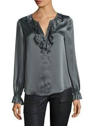 grey silk blouse joie jayanne b ruffled sleeve silk blouse grey modesens