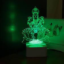 home decoration lights india india god lakshmi 3d night light usb led desk table lampara dc5v