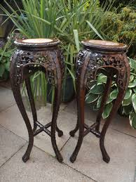 Vase Stands Pair Of C19th Chinese Late Qing Dynasty Carved Hardwood Inset
