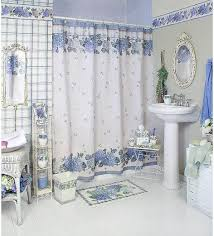 bathroom curtain ideas bathroom curtain ideas white blue flower pattern home interiors
