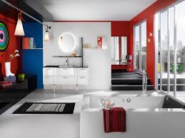interior design ideas bathroom for teenage girls with red wall