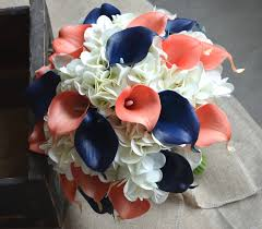 calla bouquet coral navy bridal bouquet real touch calla lilies hydrangeas