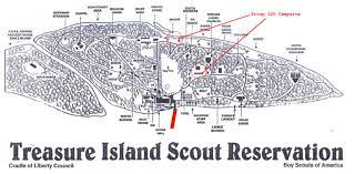 Treasure Island Map Troop 125 Favorite Campsites