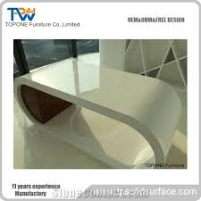 Curved Office Desk by China Factory Direct White Artificial Marble Stone Curved Office