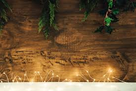 christmas composition with string lights and mistletoe photo