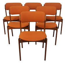 erik buch danish modern teak dining chairs 6 chairish
