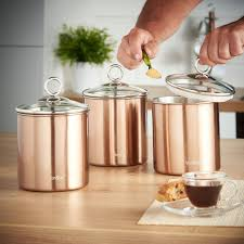 copper kitchen canister sets 3pc kitchen canister set copper
