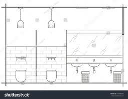 architectural linear sketch wc interior front stock vector