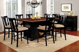 Cherry Wood Dining Room Set by Sabrina Country Style 9pc Cherry U0026 Black Finish Counter Height