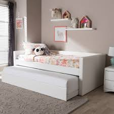 twin daybed trundle bed beds accessories compare prices at baxton studio aesop modern and contemporary white faux le