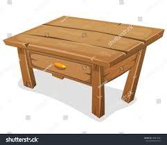wood little table illustration cartoon funny wooden stock vector