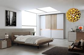 modern minimalist bedroom idea with mdf bed frame and unique globe