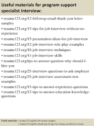 It Specialist Resume Sample by Top 8 Program Support Specialist Resume Samples