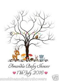 baby shower fingerprint tree personalised a3 a4 finger print tree forest baby shower inc ink