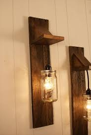 Canning Jar Lights Chandelier Pair Of Reclaimed Wooden Mason Jar Chandelier Wall Mount Fixture