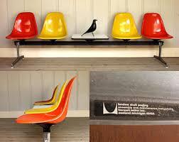 eames bench orange eames chair etsy