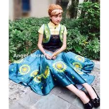 Anna Costume Anna Women Costume Frozen Fever Full Set Spring Cosplay Sunflower