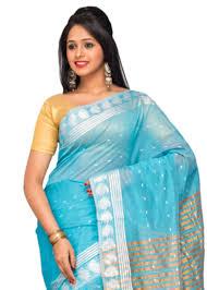 Buy Green Plain Cotton Silk Buy Blue Plain Cotton Silk Saree With Blouse Online