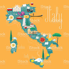 Maps Of Italy Map Of Italy Vector Illustration Design Icons With Italian