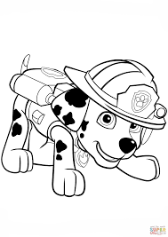 paw patrol marshall fire truck coloring coloring