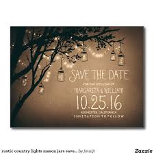 inexpensive save the dates postal los tarros de albañil rústicos de las luces wedding