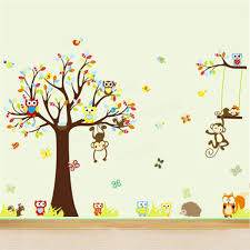 4 pcs set large monkey owl tree wall stickers jungle animal decal