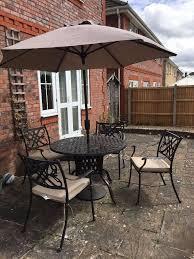 garden furniture bellagio 4 seater set with parasol in excellent