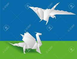 paper dragons origami two paper dragons on a green background royalty
