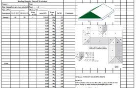 Take Sheet Template Roofing Quantity Takeoff Sheet Construction Roof Estimating Template