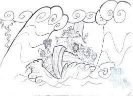 jesus calms storm coloring free download