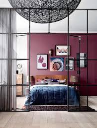 chambre couleur prune design interieur couleur prune chambre adulte mur accent peinture