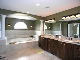 green wall paint mirror without frame wall lamp granite countertop