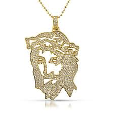 necklace gold jesus images Gold jesus outline iced out pendant jewelryfresh JPG
