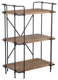 soho industrial wood and metal 3 shelf bookcase industrial