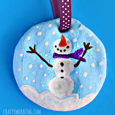 fingerprint snowman salt dough ornament crafty morning
